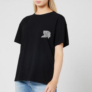 Alexander Wang Women's High Twist Jersey Short Sleeve T-Shirt with Warped Logo Print - Black