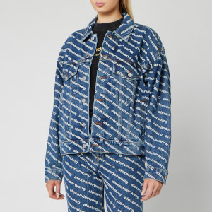 Alexander Wang Women's Game Denim Jacket White Logo Print - Blue