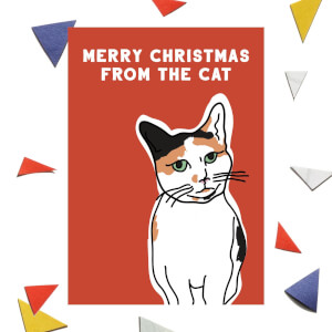 Merry Christmas From The Cat Greetings Card