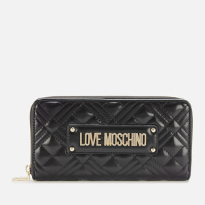Love Moschino Women's Quilted Large Zip Around Wallet - Black