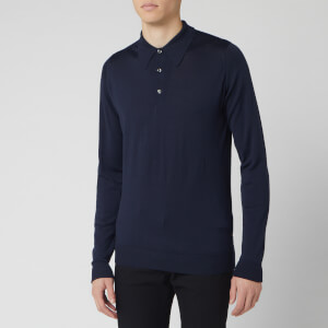 John Smedley Men's Dorset 30 Gauge Merino Long Sleeve Polo Shirt - Midnight