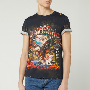 Balmain Men's Printed Classic Fit T-Shirt - Black