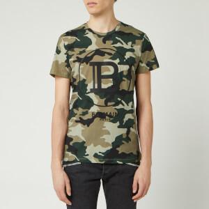 Balmain Men's Printed Camouflage T-Shirt - Khaki