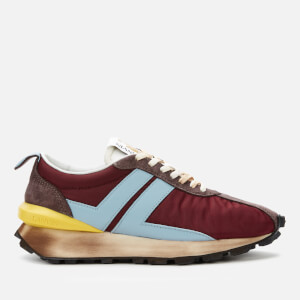 Lanvin Men's Suede Running Trainers - Burgundy/Light Blue