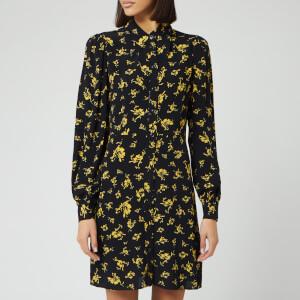 Ganni Women's Floral Printed Crepe Collar Mini Dress - Black