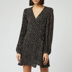Ganni Women's Spot Printed Georgette Mini Dress - Black