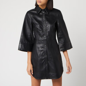 Ganni Women's Leather Shirt Dress - Black