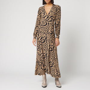 Ganni Women's Printed Crepe Zebra Wrap Dress - Tannin