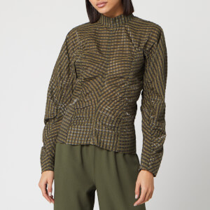 Ganni Women's Seersucker Check Ruched Sleeve Top - Kalamata