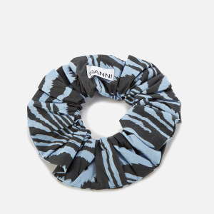 Ganni Women's Printed Cotton Poplin Scrunchie - Forever Blue