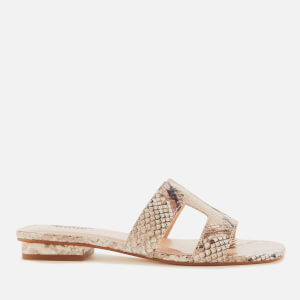 Dune Women's Loupe Leather Mule Sandals - Natural Reptile