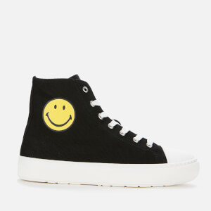 Joshua Sanders Women's Smiley Canvas Hi-Top Trainers - Black