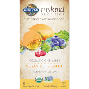 mykind Organics Chewable Vegan D3 Chewables - Raspberry Lemon - 30 Chewables
