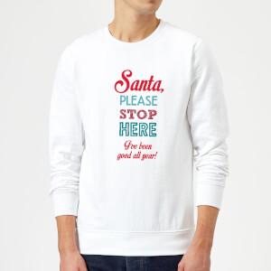 Stop here santa Sweatshirt - White