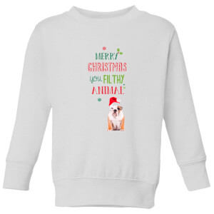 Merry Christmas bulldog Kids' Sweatshirt - White