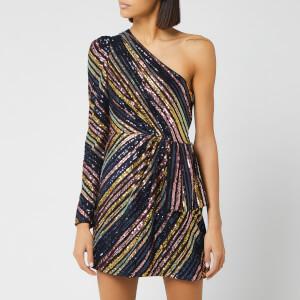 Self-Portrait Women's Stripe Sequin Asymmetric Mini Dress - Multi