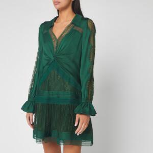 Self-Portrait Women's Fine Lace Trim Mini Dress - Green