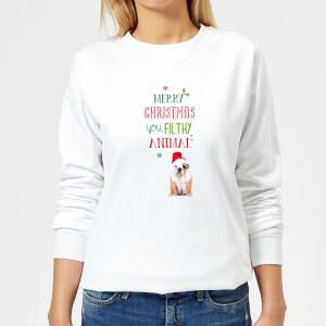 Merry-Christmas-bulldog Women's Sweatshirt - White