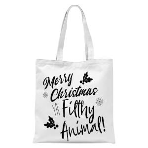 Merry Christmas Ya Filthy Animal! Tote Bag - White