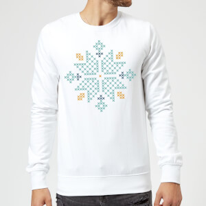 Cross Stitch Snow Flake Sweatshirt - White