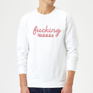Cross Stitch Fucking Falalalalalala Sweatshirt - White