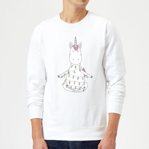 Unicorn Wrapped In Christmas Lights Sweatshirt - White