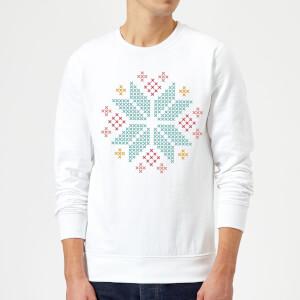 Cross Stitch Festive Snowflake Sweatshirt - White