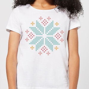 Cross Stitch Festive Snowflake Women's T-Shirt - White
