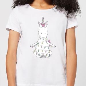 Unicorn Wrapped In Christmas Lights Women's T-Shirt - White