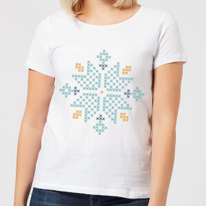 Cross Stitch Snow Flake Women's T-Shirt - White