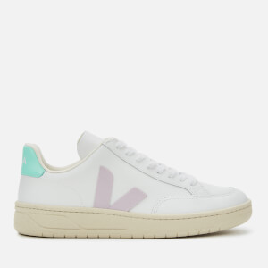 Veja Women's V-12 Leather Trainers - Extra White/Parme/Turqoise