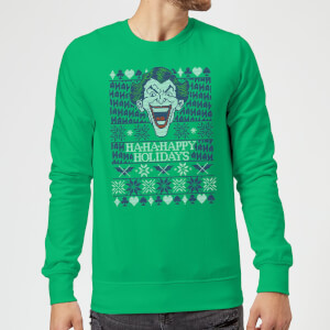 HA-HA-HAppy Ugly Knit Christmas Sweatshirt - Kelly Green