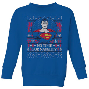 Superman May Your Holidays Be Super Kids' Christmas Sweater - Royal Blue