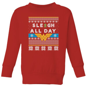 Wonder Woman 'Sleigh All Day Kids' Christmas Sweater - Red