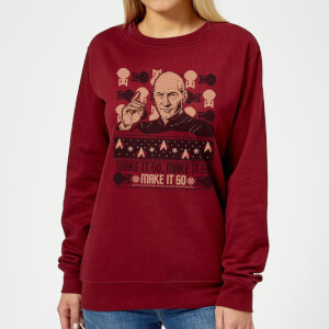 Star Trek: The Next Generation Make It So Women's Christmas Sweatshirt - Burgundy