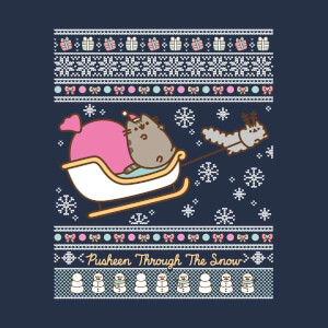 Pusheen Through The Snow Women's Christmas Sweatshirt - Navy