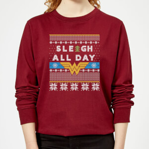 Wonder Woman 'Sleigh All Day Women's Christmas Sweater - Burgundy