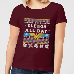 T-Shirt Wonder Woman 'Sleigh All Day Christmas - Burgundy - Donna