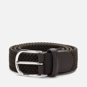 Anderson's Men's Polished Silver Buckle Woven Belt - Green