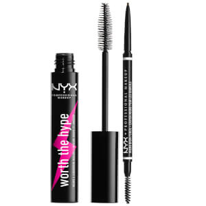 NYX Professional Makeup Micro Eyebrow Pencil and Black Volumizing Mascara Duo (Worth £18.00)