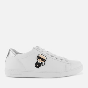 Karl Lagerfeld Women's Kupsole II Karl Ikonic Leather Cupsole Trainers - White/Silver