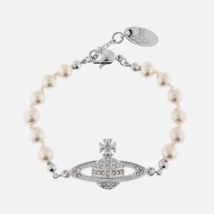 Vivienne Westwood Women's Mini Bas Relief Bracelet - Rhodium/Crystal Pearl