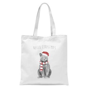 Balazs Solti Hello Christmas Cat Tote Bag - White