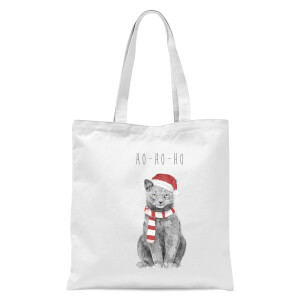 Balazs Solti Ho Ho Ho Christmas Cat Tote Bag - White