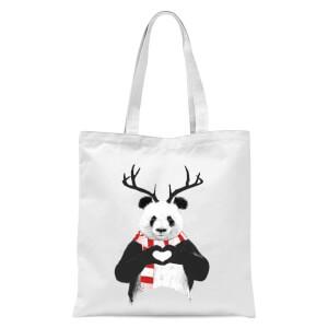Xmas Panda Tote Bag - White
