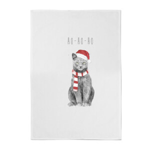Balazs Solti Ho Ho Ho Christmas Cat Cotton Tea Towel