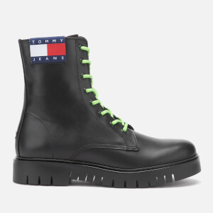 Tommy Jeans Women's Neon Detail Leather Lace Up Boots - Black