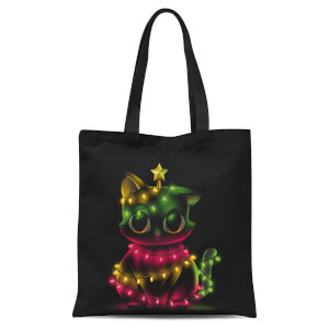 Tobias Fonseca Meow Catmas Lights Tote Bag - Black