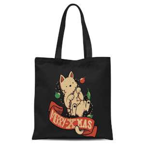 Tobias Fonseca Merry Xmas Cat Tote Bag - Black
