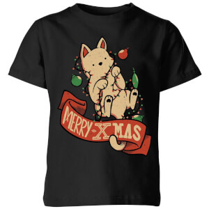 Tobias Fonseca Merry Xmas Cat Kids' T-Shirt - Black